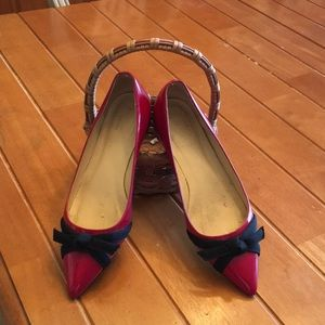 Kate Spade Red patent shoes with black ribbon -7